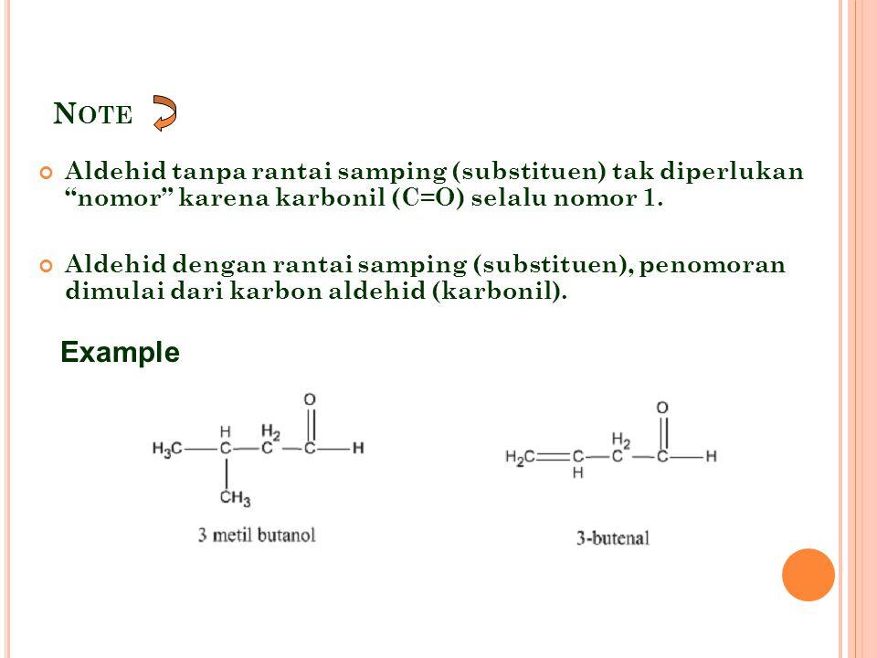 K ONSEKUENSI KEPOLARAN GUGUS KARBONIL : Terjadi asosiasi yang lemah diantara molekul- molekul aldehida dan keton  titik didih lebih tinggi daripada alkana yang setara.
