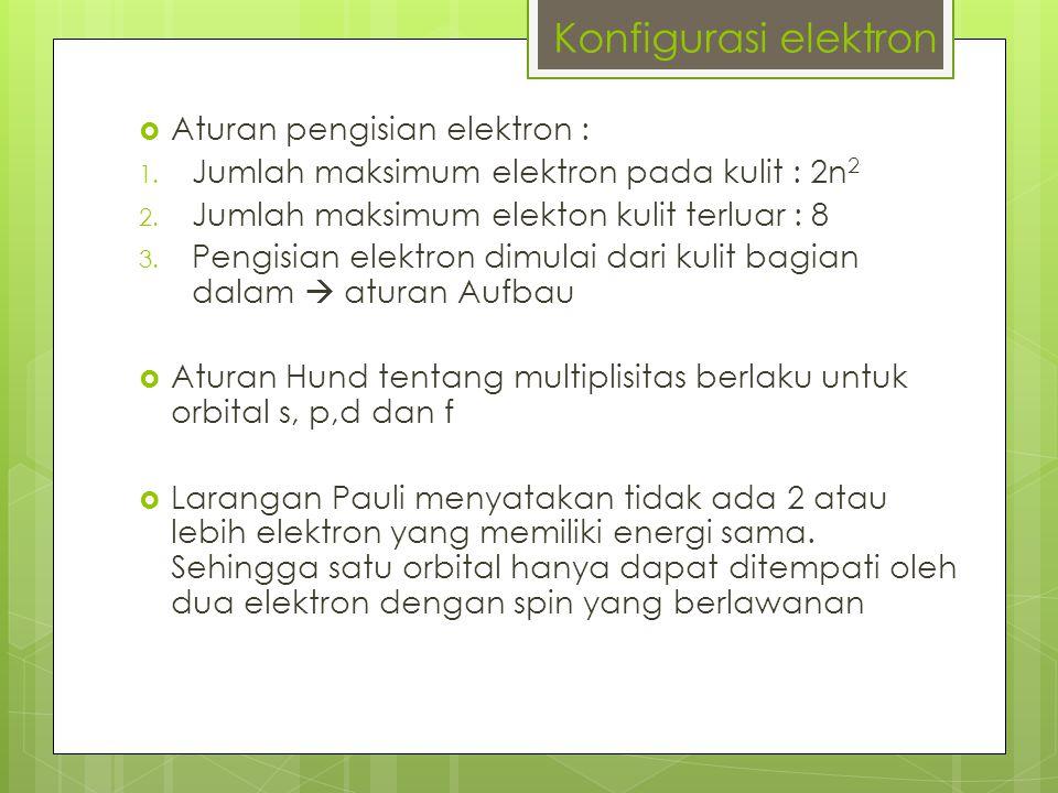  Aturan pengisian elektron : 1.Jumlah maksimum elektron pada kulit : 2n 2 2.