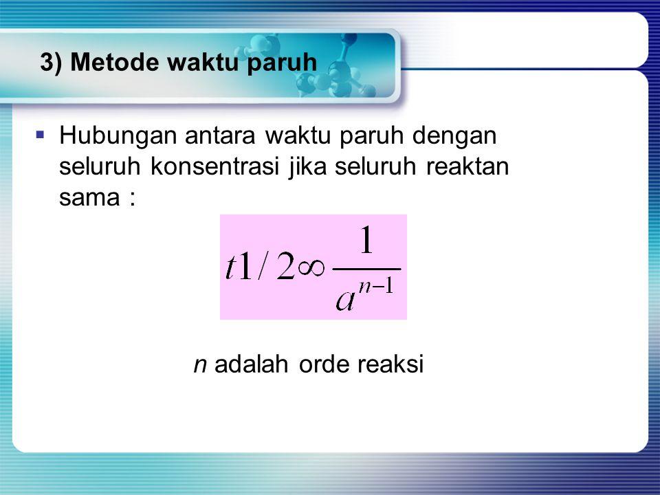 3) Metode waktu paruh  Hubungan antara waktu paruh dengan seluruh konsentrasi jika seluruh reaktan sama : n adalah orde reaksi