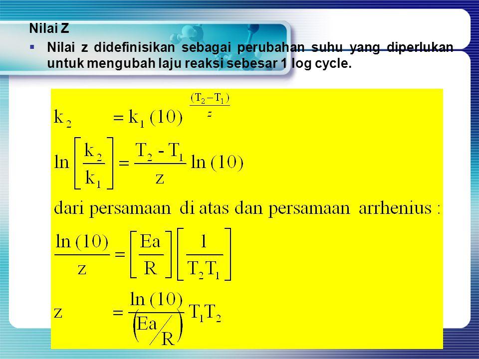 Nilai Z  Nilai z didefinisikan sebagai perubahan suhu yang diperlukan untuk mengubah laju reaksi sebesar 1 log cycle.