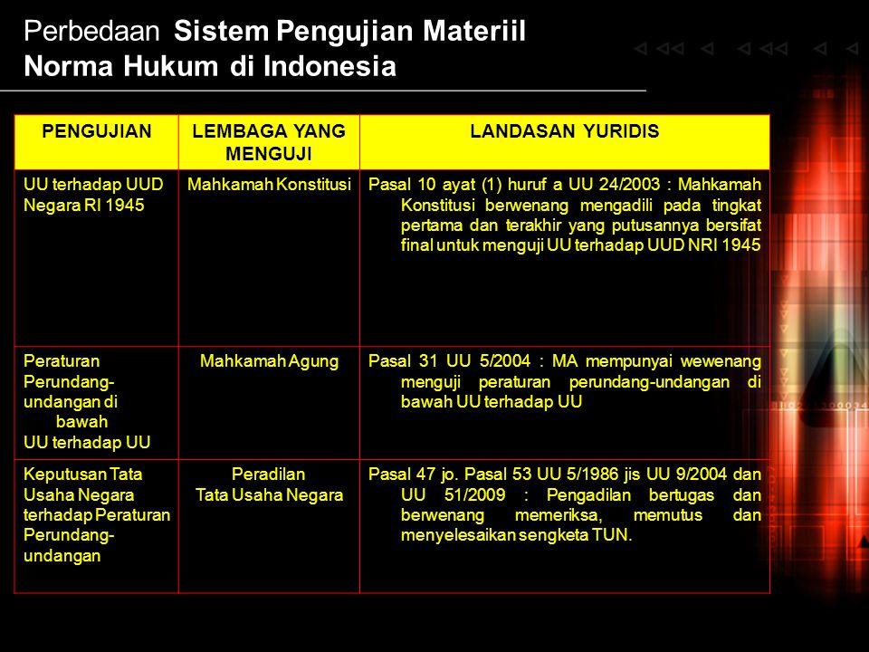 Perbedaan Sistem Pengujian Materiil Norma Hukum di Indonesia PENGUJIANLEMBAGA YANG MENGUJI LANDASAN YURIDIS UU terhadap UUD Negara RI 1945 Mahkamah Ko
