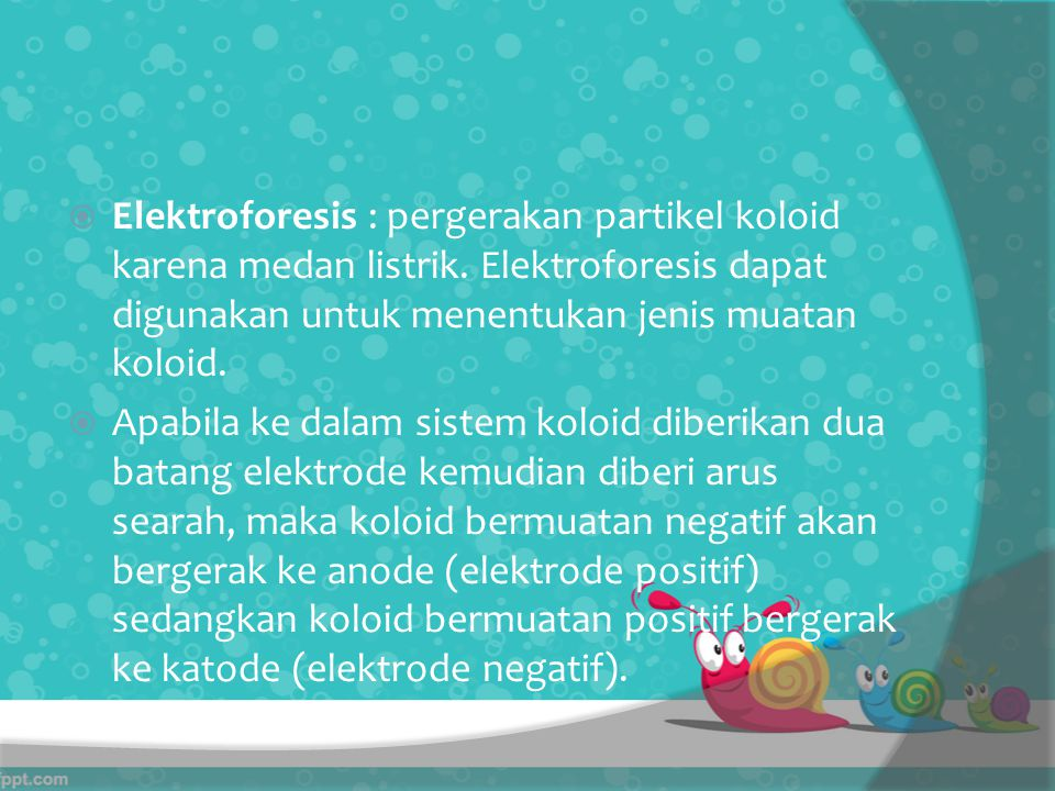  Elektroforesis : pergerakan partikel koloid karena medan listrik.