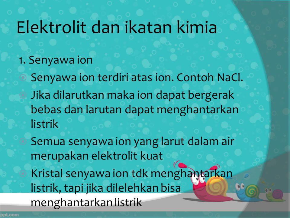 Elektrolit dan ikatan kimia 1.Senyawa ion  Senyawa ion terdiri atas ion.