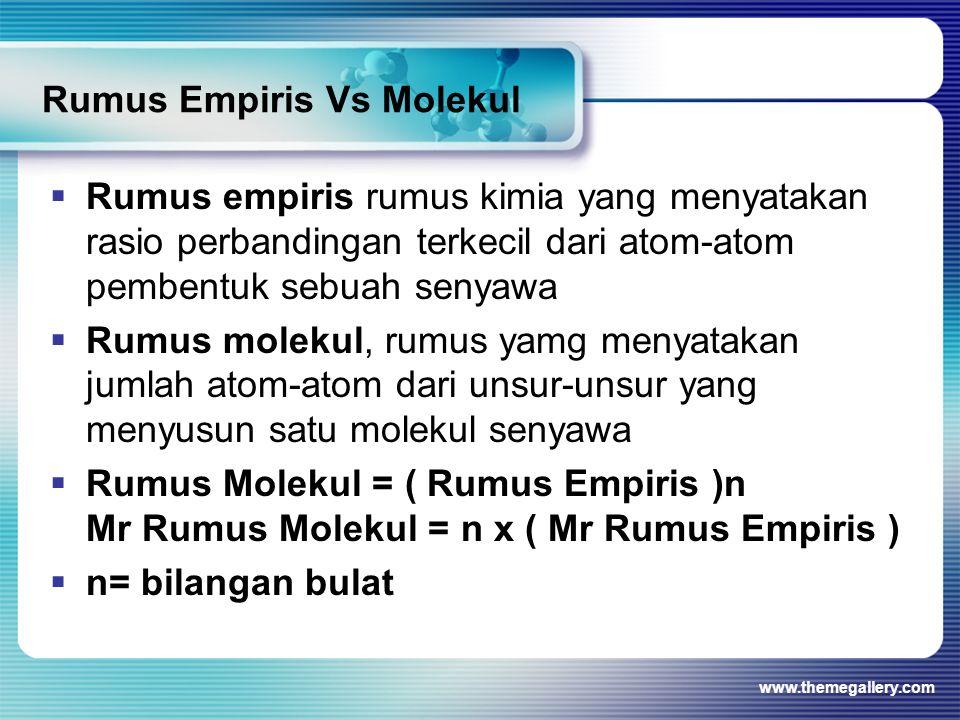 Rumus Empiris Vs Molekul  Rumus empiris rumus kimia yang menyatakan rasio perbandingan terkecil dari atom-atom pembentuk sebuah senyawa  Rumus molekul, rumus yamg menyatakan jumlah atom-atom dari unsur-unsur yang menyusun satu molekul senyawa  Rumus Molekul = ( Rumus Empiris )n Mr Rumus Molekul = n x ( Mr Rumus Empiris )  n= bilangan bulat www.themegallery.com