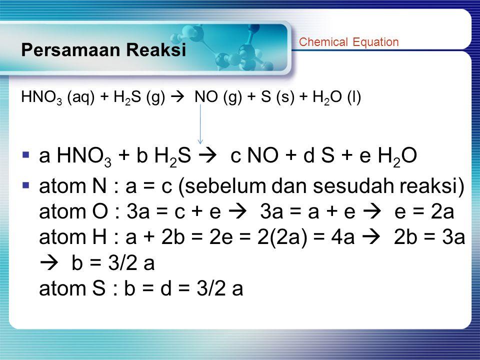 Persamaan Reaksi HNO 3 (aq) + H 2 S (g)  NO (g) + S (s) + H 2 O (l)  a HNO 3 + b H 2 S  c NO + d S + e H 2 O  atom N : a = c (sebelum dan sesudah reaksi) atom O : 3a = c + e  3a = a + e  e = 2a atom H : a + 2b = 2e = 2(2a) = 4a  2b = 3a  b = 3/2 a atom S : b = d = 3/2 a Chemical Equation