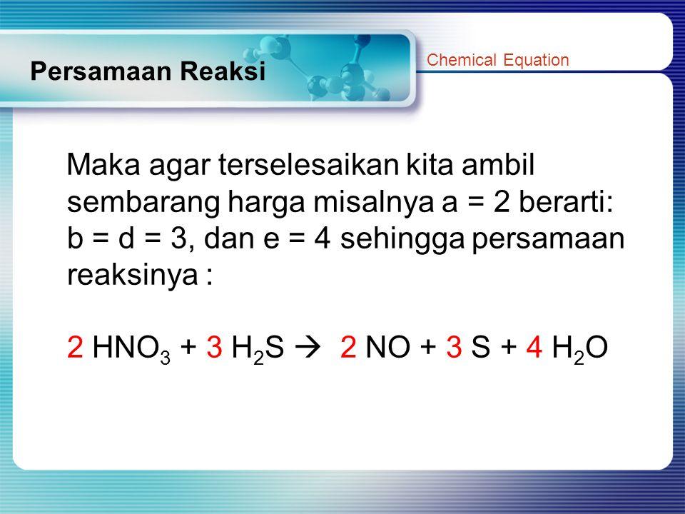 Persamaan Reaksi Maka agar terselesaikan kita ambil sembarang harga misalnya a = 2 berarti: b = d = 3, dan e = 4 sehingga persamaan reaksinya : 2 HNO 3 + 3 H 2 S  2 NO + 3 S + 4 H 2 O Chemical Equation