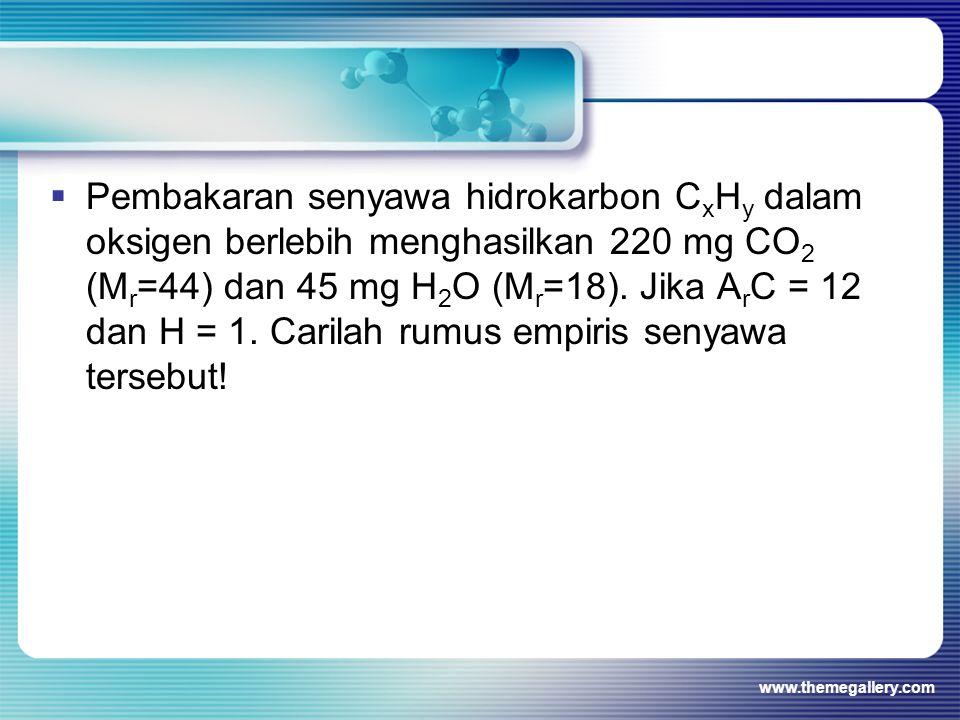  Pembakaran senyawa hidrokarbon C x H y dalam oksigen berlebih menghasilkan 220 mg CO 2 (M r =44) dan 45 mg H 2 O (M r =18). Jika A r C = 12 dan H =