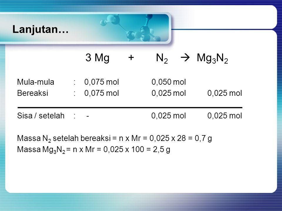 Lanjutan… 3 Mg + N 2  Mg 3 N 2 Mula-mula: 0,075 mol 0,050 mol Bereaksi: 0,075 mol 0,025 mol 0,025 mol Sisa / setelah: - 0,025 mol 0,025 mol Massa N 2 setelah bereaksi = n x Mr = 0,025 x 28 = 0,7 g Massa Mg 3 N 2 = n x Mr = 0,025 x 100 = 2,5 g