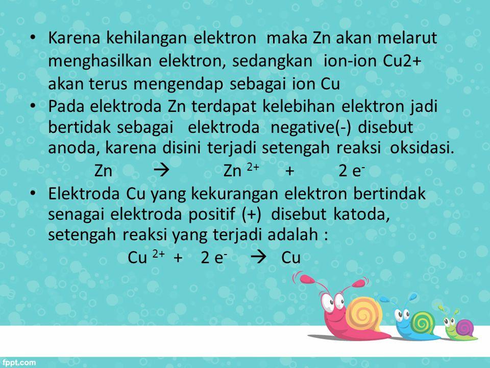 Karena kehilangan elektron maka Zn akan melarut menghasilkan elektron, sedangkan ion-ion Cu2+ akan terus mengendap sebagai ion Cu Pada elektroda Zn te