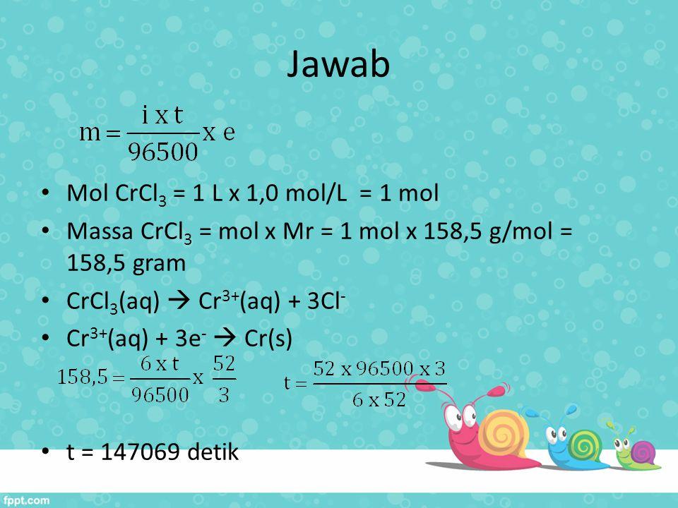 Jawab Mol CrCl 3 = 1 L x 1,0 mol/L = 1 mol Massa CrCl 3 = mol x Mr = 1 mol x 158,5 g/mol = 158,5 gram CrCl 3 (aq)  Cr 3+ (aq) + 3Cl - Cr 3+ (aq) + 3