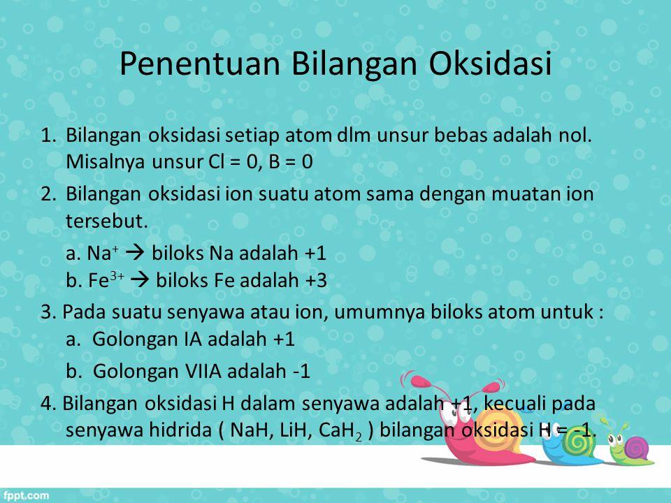 Penentuan Bilangan Oksidasi 1.Bilangan oksidasi setiap atom dlm unsur bebas adalah nol. Misalnya unsur Cl = 0, B = 0 2.Bilangan oksidasi ion suatu ato
