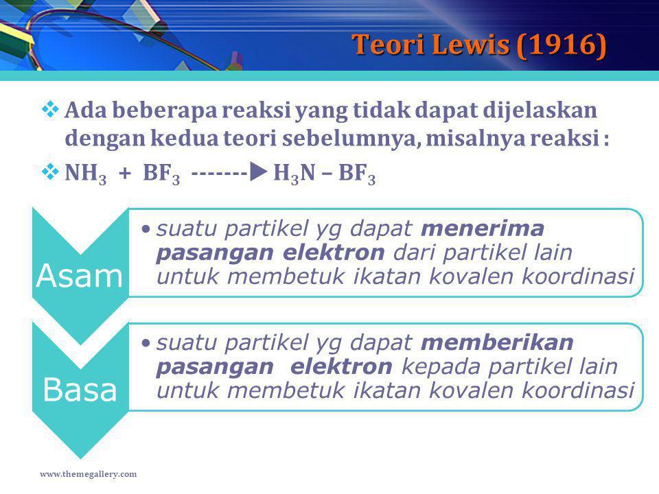 Teori Lewis (1916)  Ada beberapa reaksi yang tidak dapat dijelaskan dengan kedua teori sebelumnya, misalnya reaksi :  NH 3 + BF 3 -------  H 3 N –