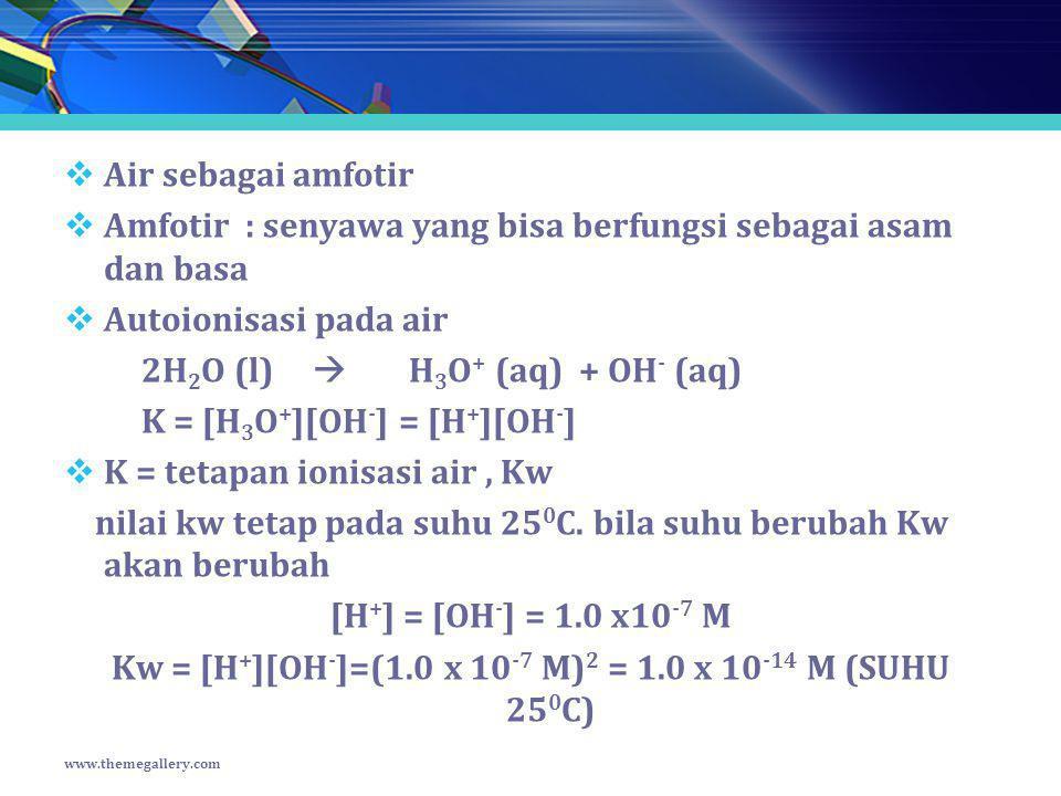  Air sebagai amfotir  Amfotir : senyawa yang bisa berfungsi sebagai asam dan basa  Autoionisasi pada air 2H 2 O (l)  H 3 O + (aq) + OH - (aq) K =