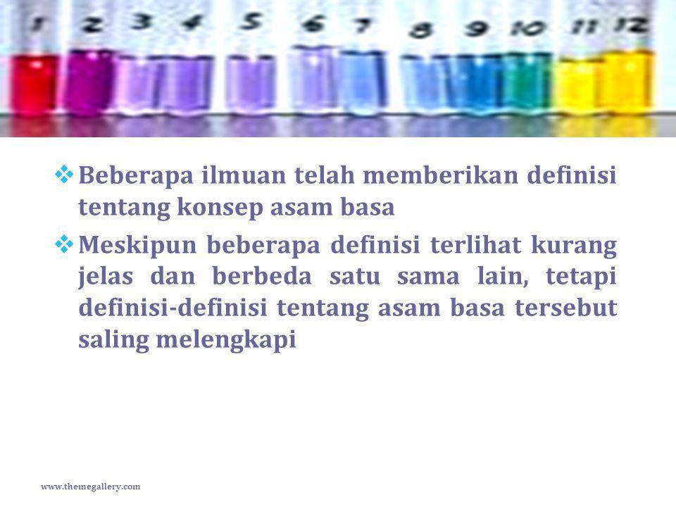 pH Asam Kuat  Asam Kuat  larutan HCl 0,01 M  [H + ] = 10 -2 x 1 = 10 -2 pH = -log [H + ] = - log 10 -2 = 2 www.themegallery.com [H + ] = Ca x valensi asam