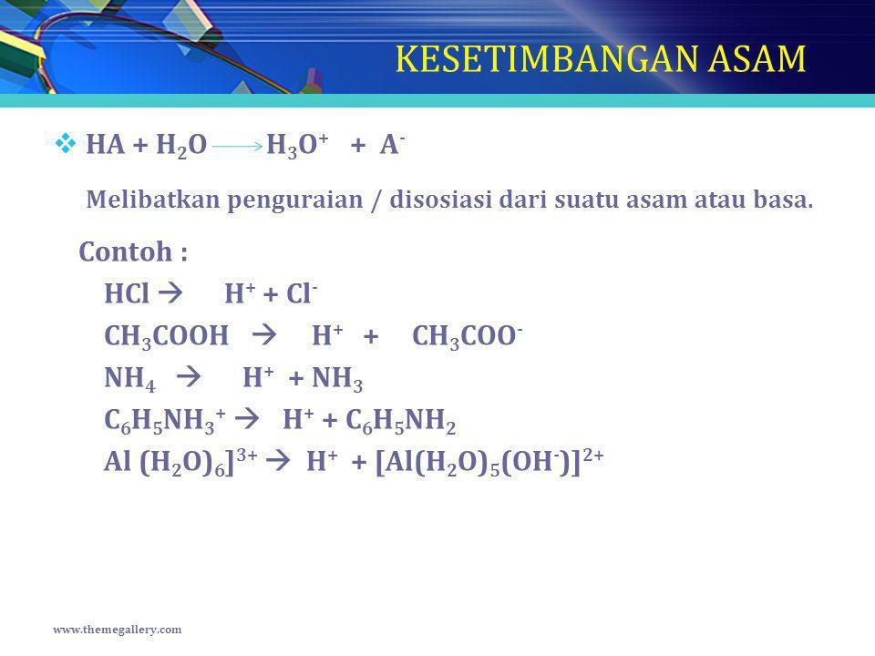 KESETIMBANGAN ASAM  HA + H 2 O H 3 O + + A - Melibatkan penguraian / disosiasi dari suatu asam atau basa. Contoh : HCl  H + + Cl - CH 3 COOH  H + +