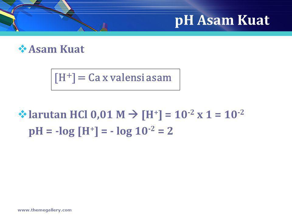 pH Asam Kuat  Asam Kuat  larutan HCl 0,01 M  [H + ] = 10 -2 x 1 = 10 -2 pH = -log [H + ] = - log 10 -2 = 2 www.themegallery.com [H + ] = Ca x valen