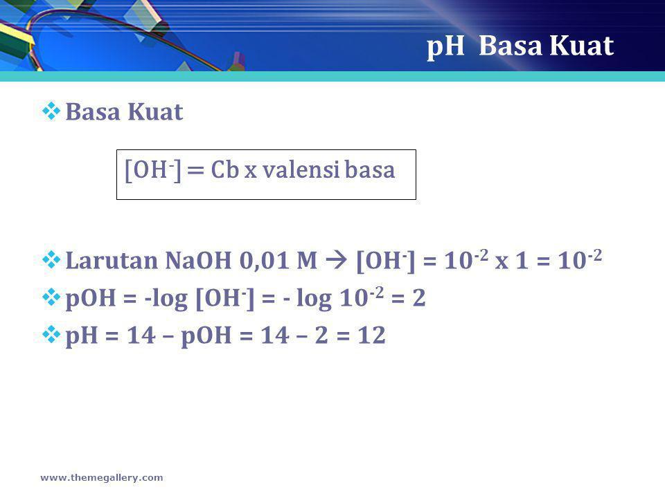pH Basa Kuat  Basa Kuat  Larutan NaOH 0,01 M  [OH - ] = 10 -2 x 1 = 10 -2  pOH = -log [OH - ] = - log 10 -2 = 2  pH = 14 – pOH = 14 – 2 = 12 www.