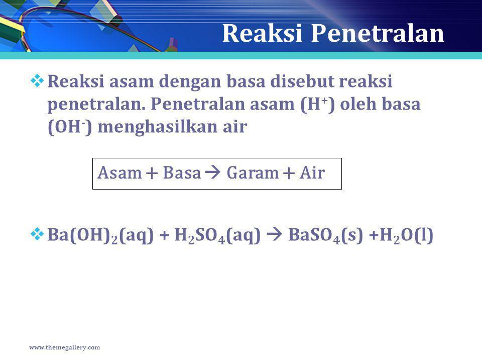 Reaksi Penetralan  Reaksi asam dengan basa disebut reaksi penetralan. Penetralan asam (H + ) oleh basa (OH - ) menghasilkan air  Ba(OH) 2 (aq) + H 2