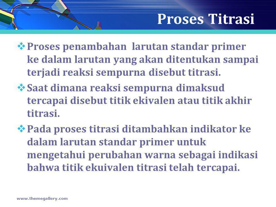 Proses Titrasi  Proses penambahan larutan standar primer ke dalam larutan yang akan ditentukan sampai terjadi reaksi sempurna disebut titrasi.  Saat