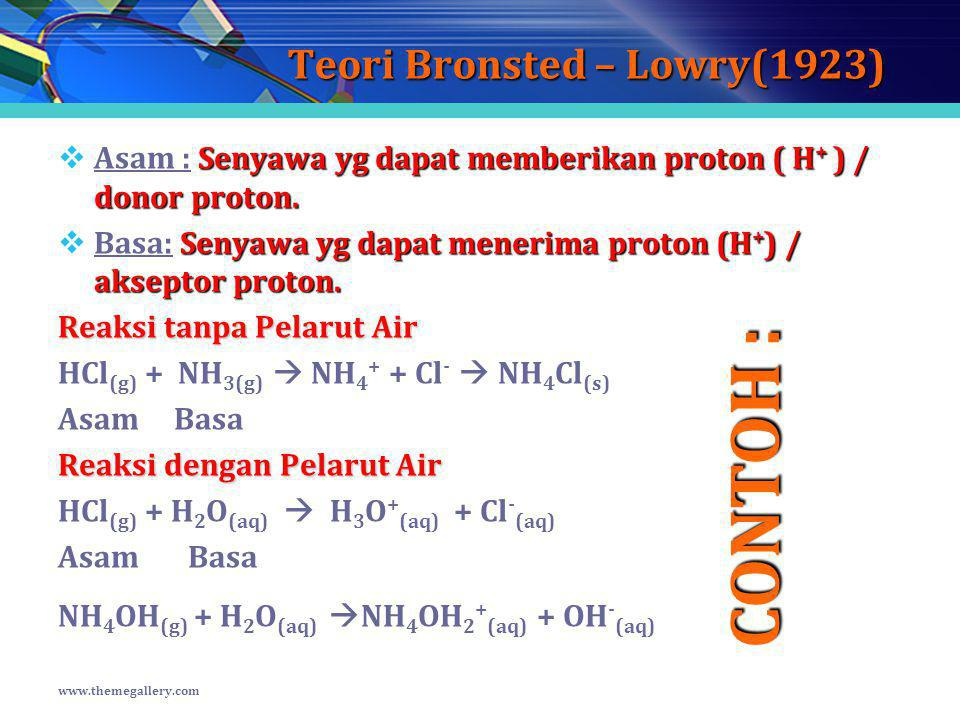 Teori Bronsted – Lowry(1923) Senyawa yg dapat memberikan proton ( H + ) / donor proton.  Asam : Senyawa yg dapat memberikan proton ( H + ) / donor pr