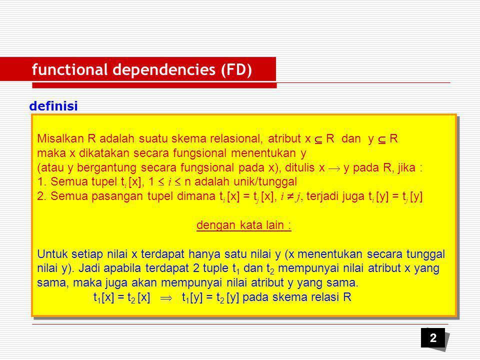 functional dependencies (FD) Armstrong's Rule A1.Reflexive Jika y  x maka x  y, X  X A2.