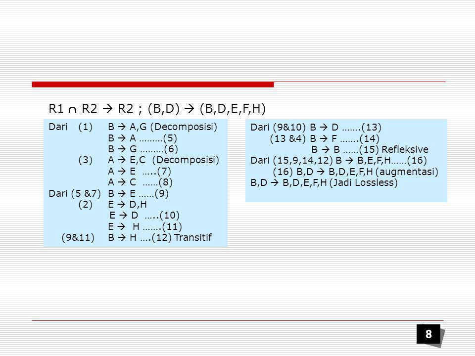  Armstrong's rule dapat dimanfaatkan untuk menentukan F + functional dependencies (FD) Closure FD (F + )  Misal F adalah gugus ketergantungan fungsional pada skema relasi R, maka semua FD yang mungkin dapat diturunkan dari F dengan hukum-hukum FD disebut : Closure dari F, ditulis F +.