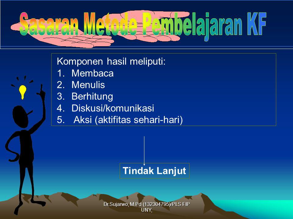 Dr.Sujarwo, M.Pd (132304795)/PLS FIP UNY, Komponen hasil meliputi: 1.Penguasaan kognitif yang dicapai warga belajar (penguasaan materi) 2.Penguasaan keterampilan warga belajar (penguasaan keterampilan fungsional) 3.Perubahan sikap warga belajar (belajar merupakan suatu kebutuhan) Tindak Lanjut
