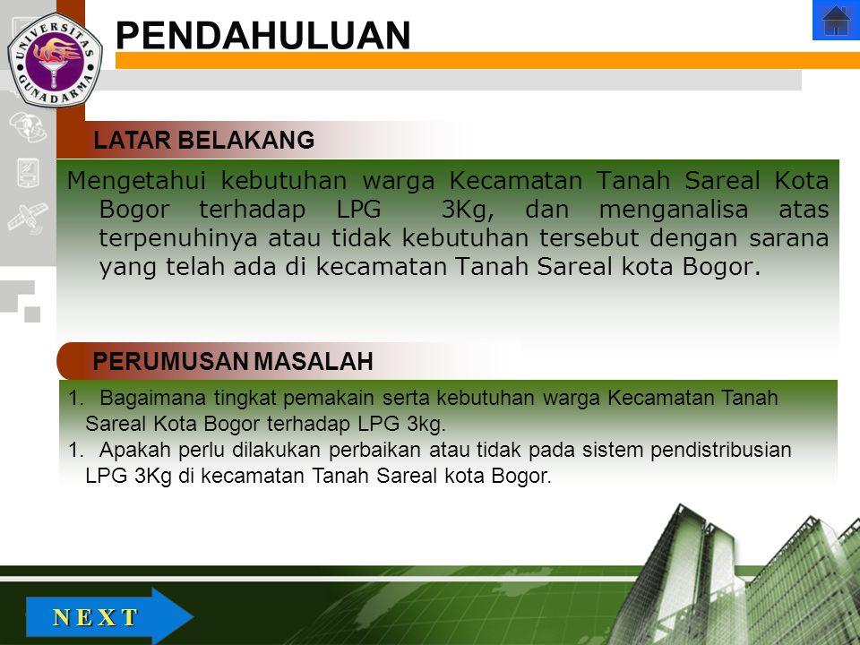 Company Logo Mengetahui kebutuhan warga Kecamatan Tanah Sareal Kota Bogor terhadap LPG 3Kg, dan menganalisa atas terpenuhinya atau tidak kebutuhan tersebut dengan sarana yang telah ada di kecamatan Tanah Sareal kota Bogor.