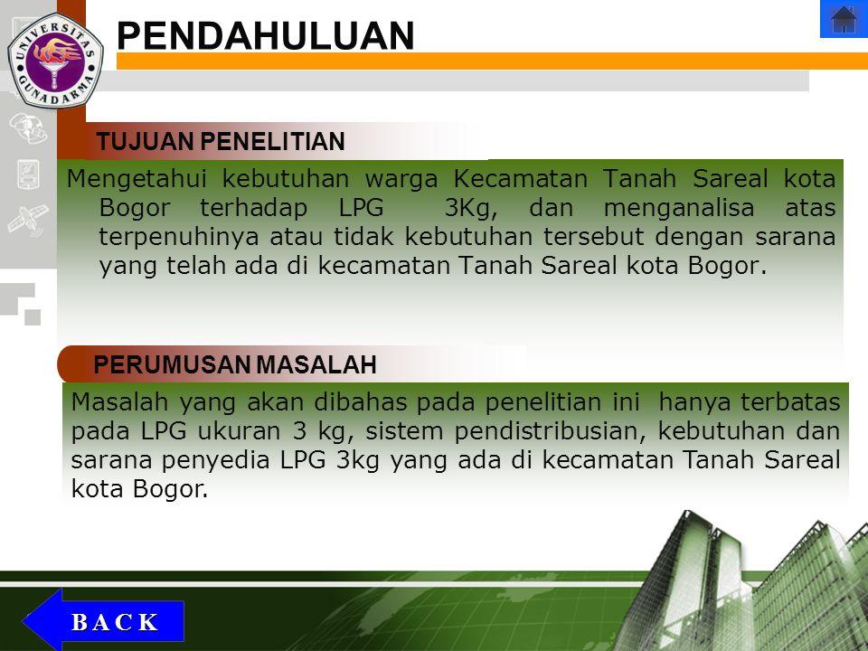 Company Logo Mengetahui kebutuhan warga Kecamatan Tanah Sareal kota Bogor terhadap LPG 3Kg, dan menganalisa atas terpenuhinya atau tidak kebutuhan ter