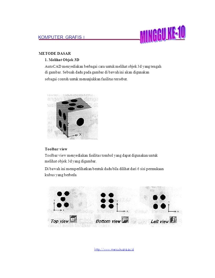 KOMPUTER GRAFIS I METODE DASAR 1. Melihat Objek 3D AutoCAD menyediakan berbagai cara untuk melihat objek 3d yang tengah di gambar. Sebuah dadu pada ga