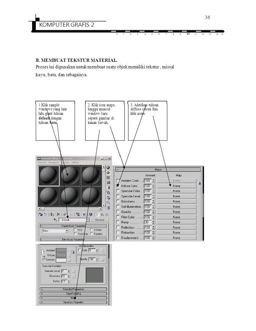 36 KOMPUTER GRAFIS 2 0123456789 10 1112131415 B. MEMBUAT TEKSTUR MATERIAL. Proses ini digunakan untuk membuat suatu objek memiliki tekstur, missal kay
