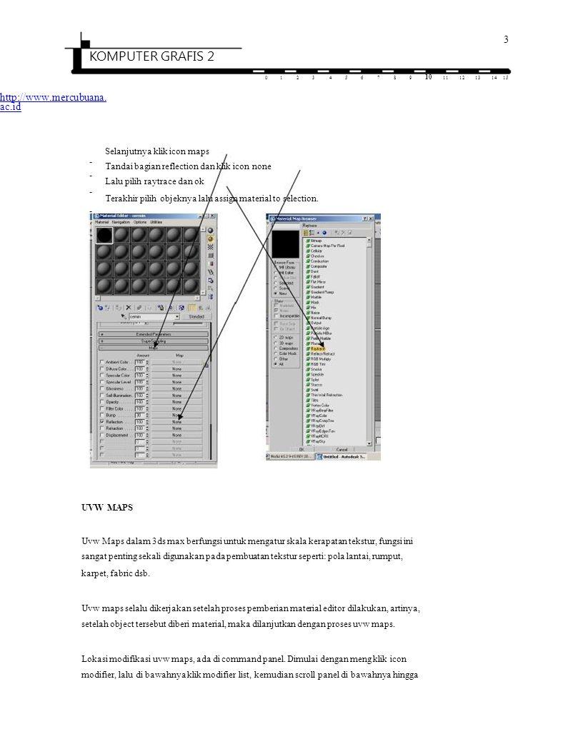 4 KOMPUTER GRAFIS 2 0123456789 10 1112131415 http://www.mercubuana.ac.id terlihat terlihat tulisan uvw maps, kemudian klik tulisan tersebut, maka proses uvw maps dapat dilihat di dalam command panel tersebut.