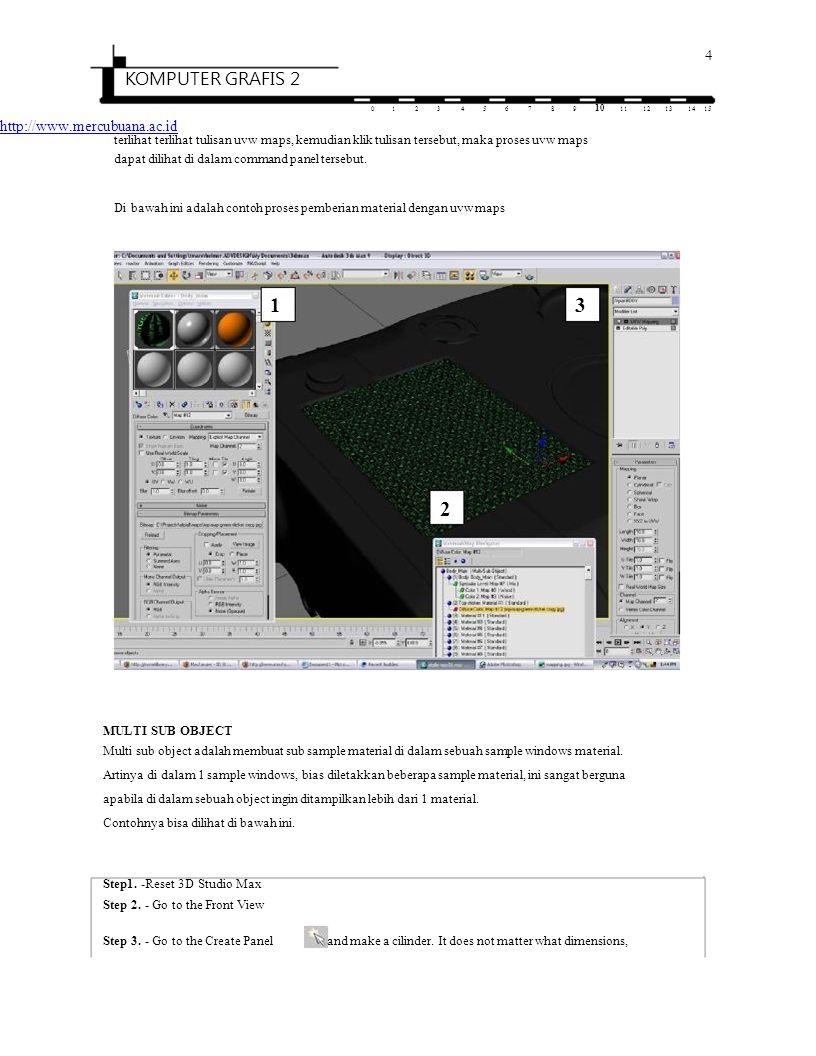 4 KOMPUTER GRAFIS 2 0123456789 10 1112131415 http://www.mercubuana.ac.id terlihat terlihat tulisan uvw maps, kemudian klik tulisan tersebut, maka pros