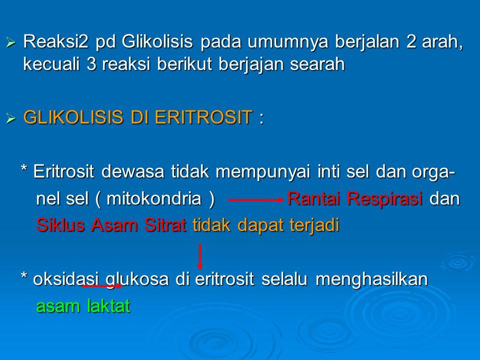  Reaksi2 pd Glikolisis pada umumnya berjalan 2 arah, kecuali 3 reaksi berikut berjajan searah  GLIKOLISIS DI ERITROSIT : * Eritrosit dewasa tidak me