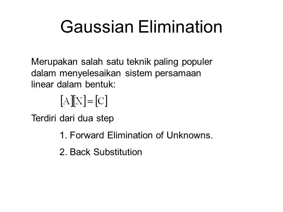 Gaussian Elimination Merupakan salah satu teknik paling populer dalam menyelesaikan sistem persamaan linear dalam bentuk: Terdiri dari dua step 1. For