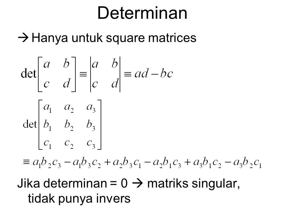 Determinan  Hanya untuk square matrices Jika determinan = 0  matriks singular, tidak punya invers