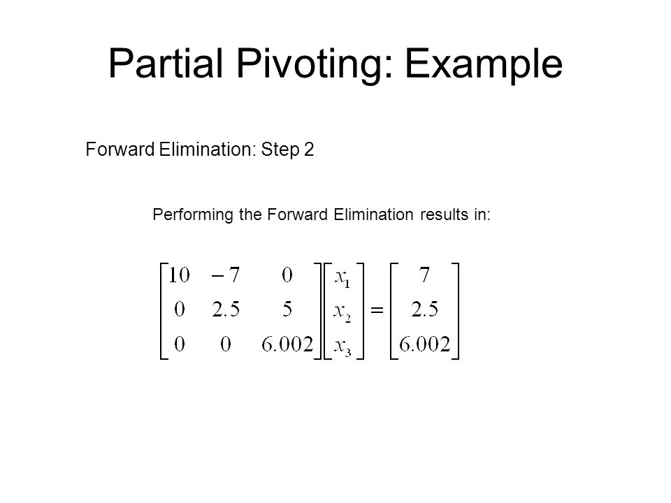 Partial Pivoting: Example Back Substitution Solving the equations through back substitution