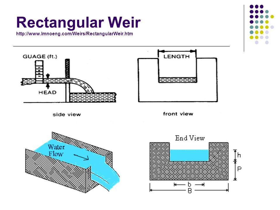 Rectangular Weir http://www.lmnoeng.com/Weirs/RectangularWeir.htm