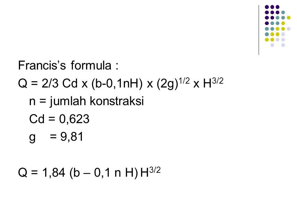 Francis's formula : Q = 2/3 Cd x (b-0,1nH) x (2g) 1/2 x H 3/2 n = jumlah konstraksi Cd = 0,623 g = 9,81 Q = 1,84 (b – 0,1 n H) H 3/2