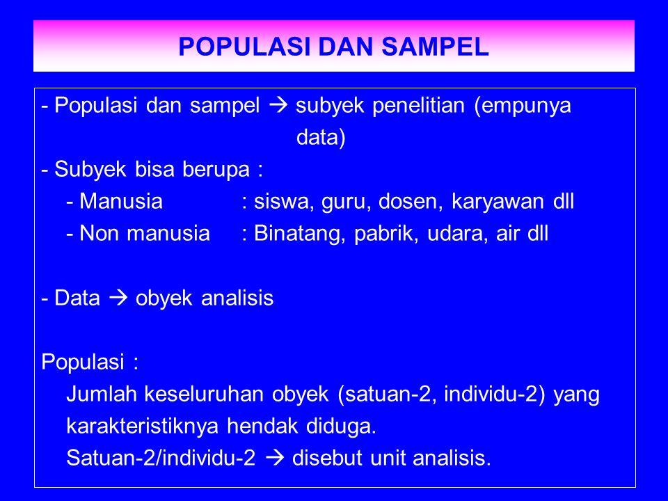 POPULASI DAN SAMPEL - Populasi dan sampel  subyek penelitian (empunya data) - Subyek bisa berupa : - Manusia: siswa, guru, dosen, karyawan dll - Non