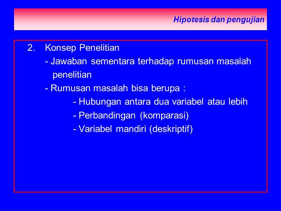 Hipotesis dan pengujian 2.