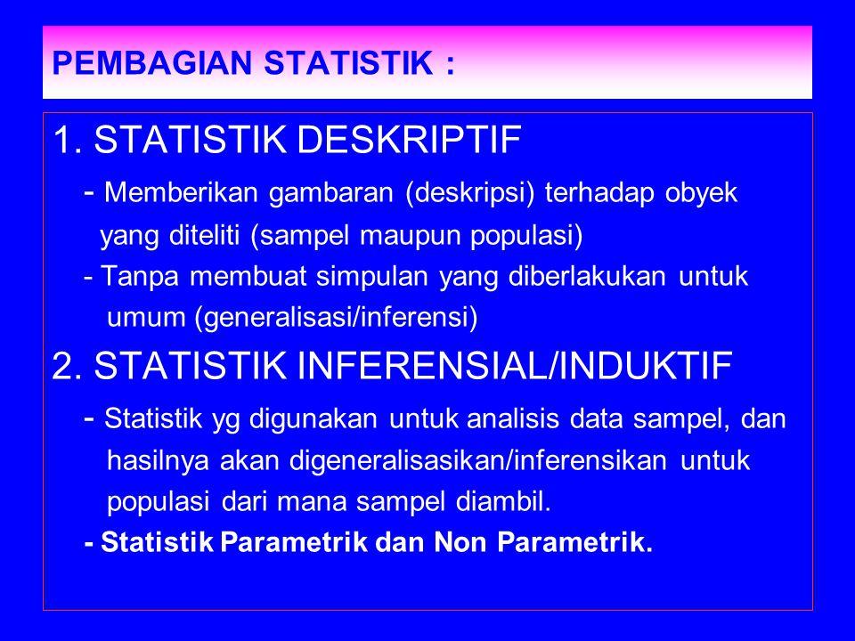 PEMBAGIAN STATISTIK : 1. STATISTIK DESKRIPTIF - Memberikan gambaran (deskripsi) terhadap obyek yang diteliti (sampel maupun populasi) - Tanpa membuat