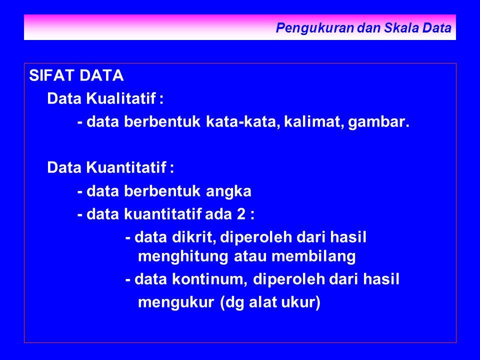 Pengukuran dan Skala Data SIFAT DATA Data Kualitatif : - data berbentuk kata-kata, kalimat, gambar. Data Kuantitatif : - data berbentuk angka - data k