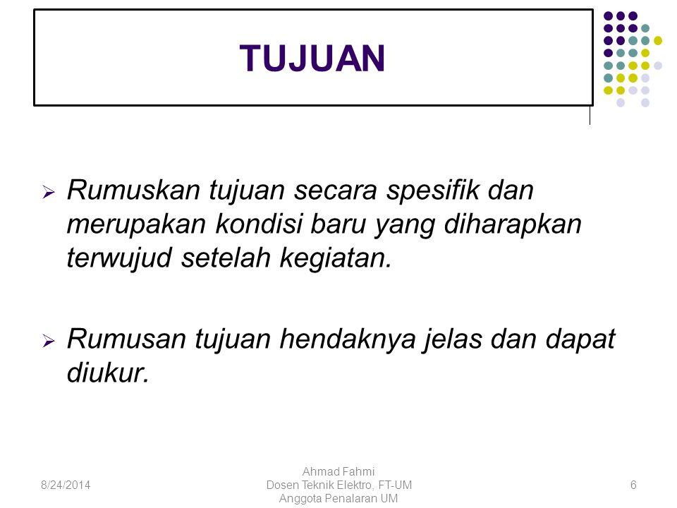 LUARAN YANG DIHARAPKAN  Sistem, model desain, barang, prototipe, artikel 78/24/2014 Ahmad Fahmi Dosen Teknik Elektro, FT-UM Anggota Penalaran UM