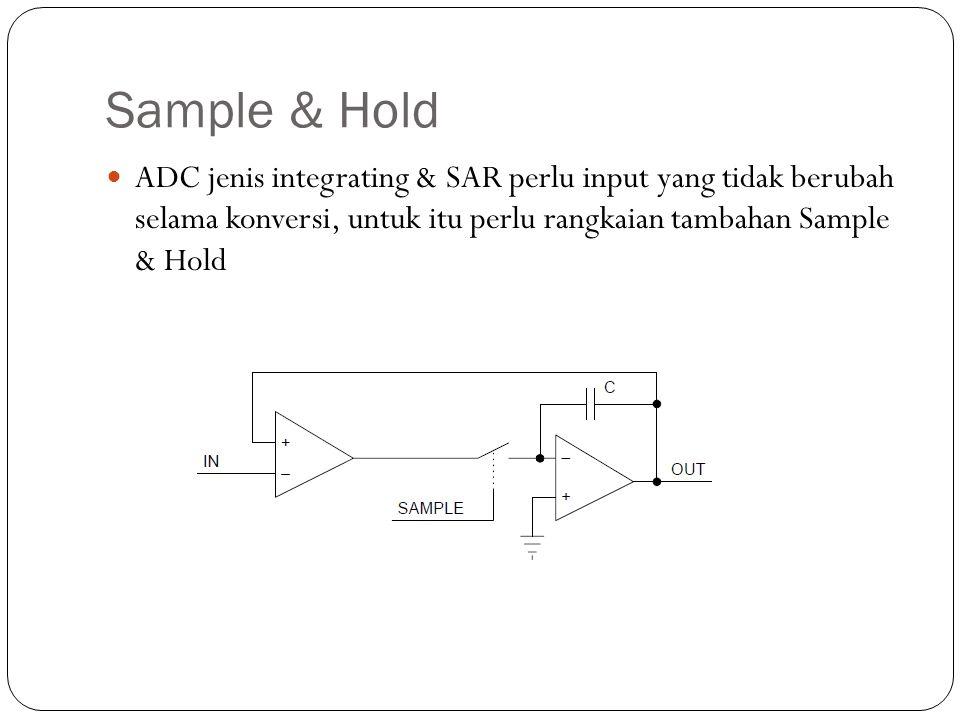 Sample & Hold ADC jenis integrating & SAR perlu input yang tidak berubah selama konversi, untuk itu perlu rangkaian tambahan Sample & Hold