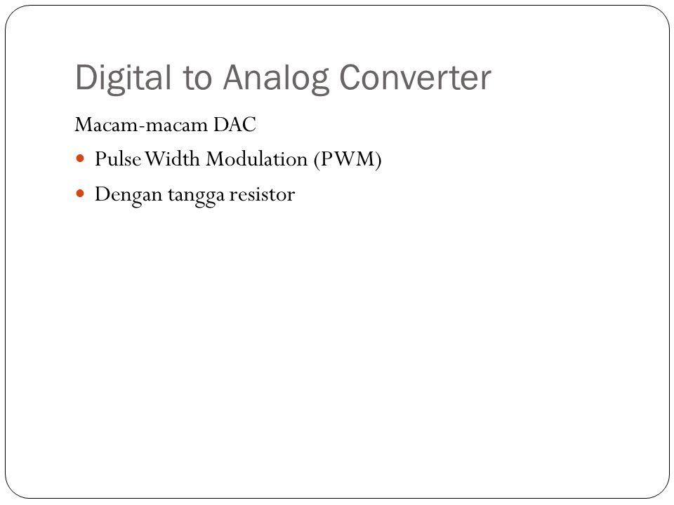 Digital to Analog Converter Macam-macam DAC Pulse Width Modulation (PWM) Dengan tangga resistor