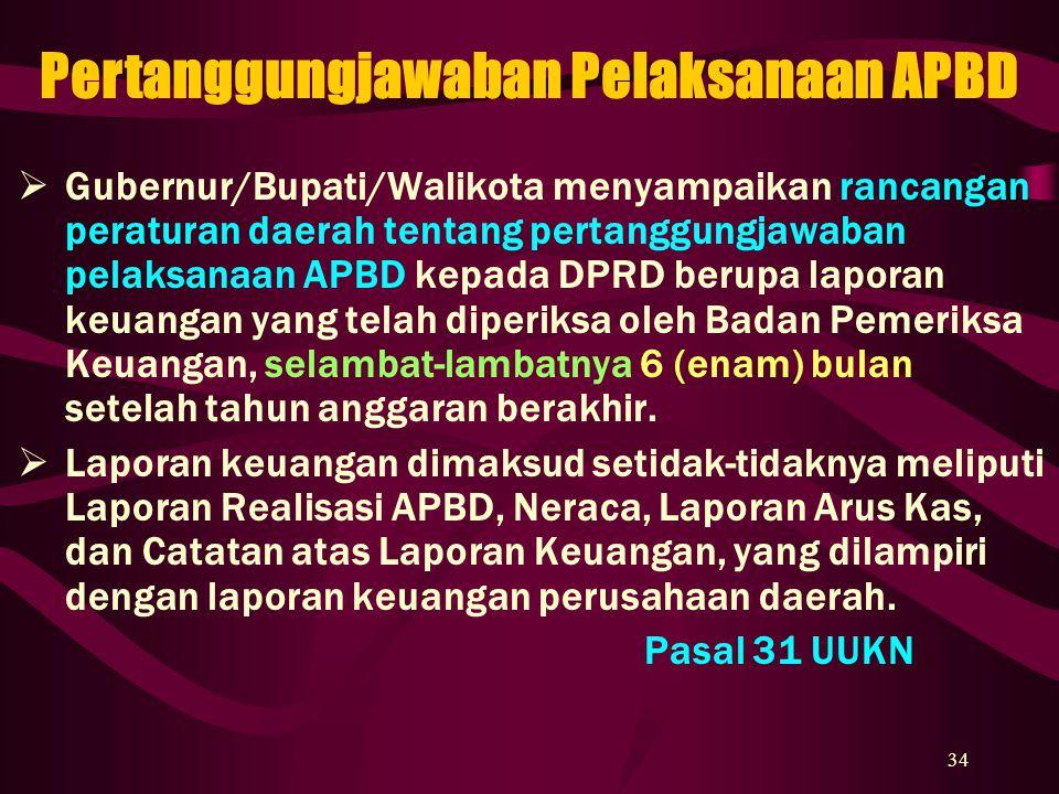 34  Gubernur/Bupati/Walikota menyampaikan rancangan peraturan daerah tentang pertanggungjawaban pelaksanaan APBD kepada DPRD berupa laporan keuangan