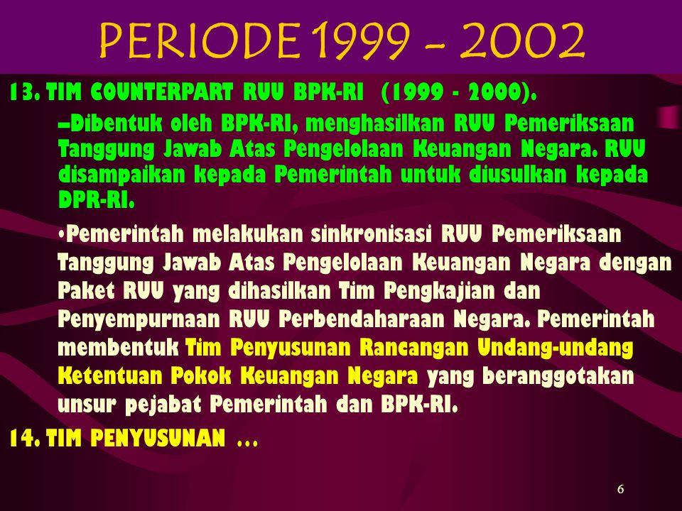 7 14.TIM PENYUSUNAN RUU KETENTUAN POKOK KEUANGAN NEGARA (1999 - 2001).
