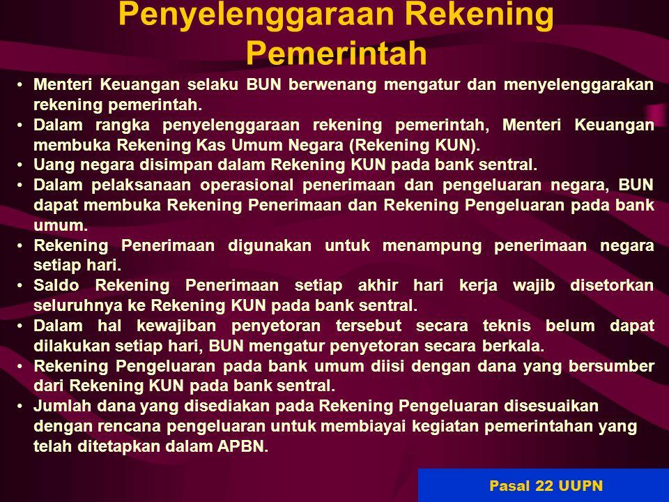 68 Penyelenggaraan Rekening Pemerintah Menteri Keuangan selaku BUN berwenang mengatur dan menyelenggarakan rekening pemerintah. Dalam rangka penyeleng