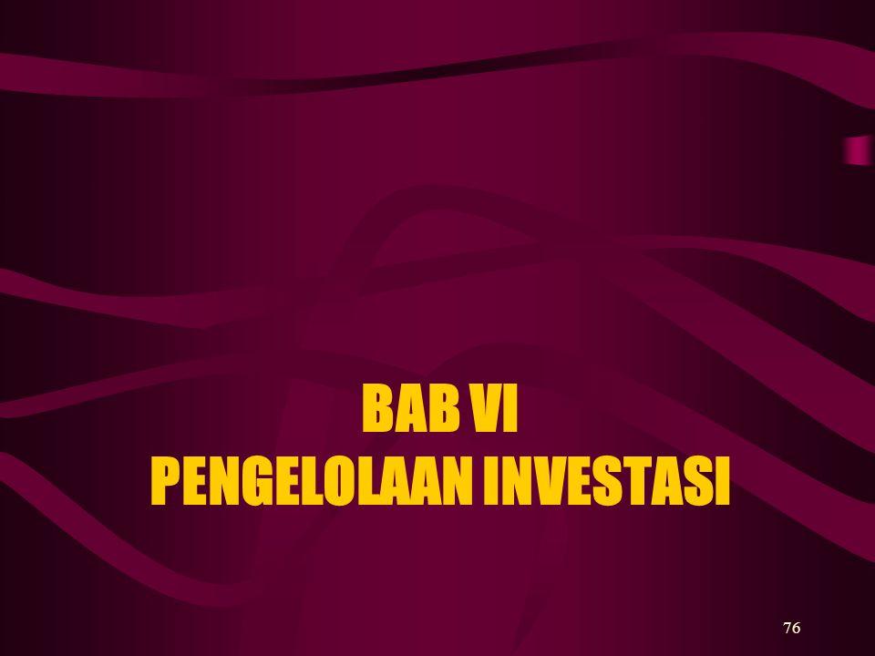 76 BAB VI PENGELOLAAN INVESTASI
